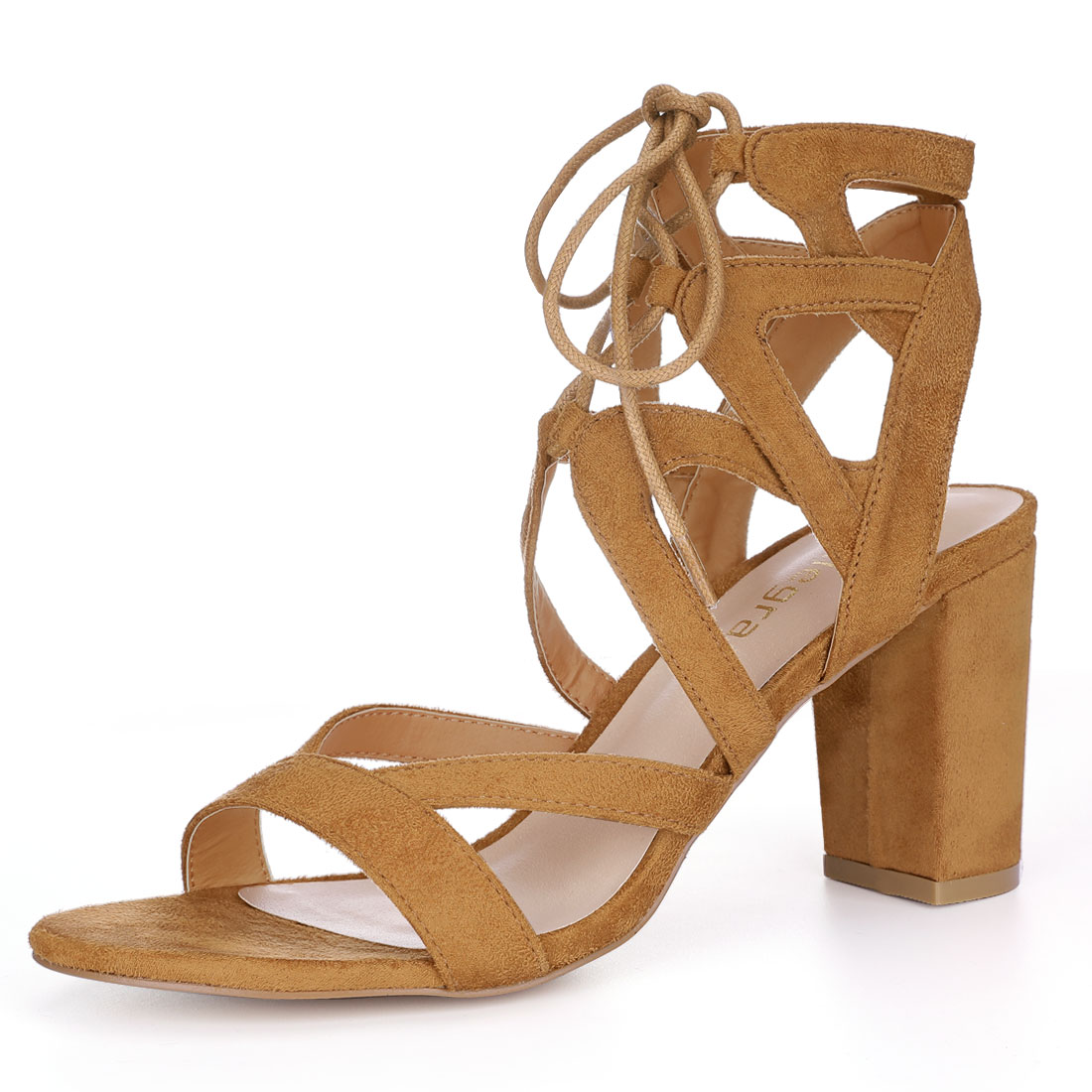Allegra K Women Cutout Strappy Chunky Heel Lace-Up Sandals Brown US 10