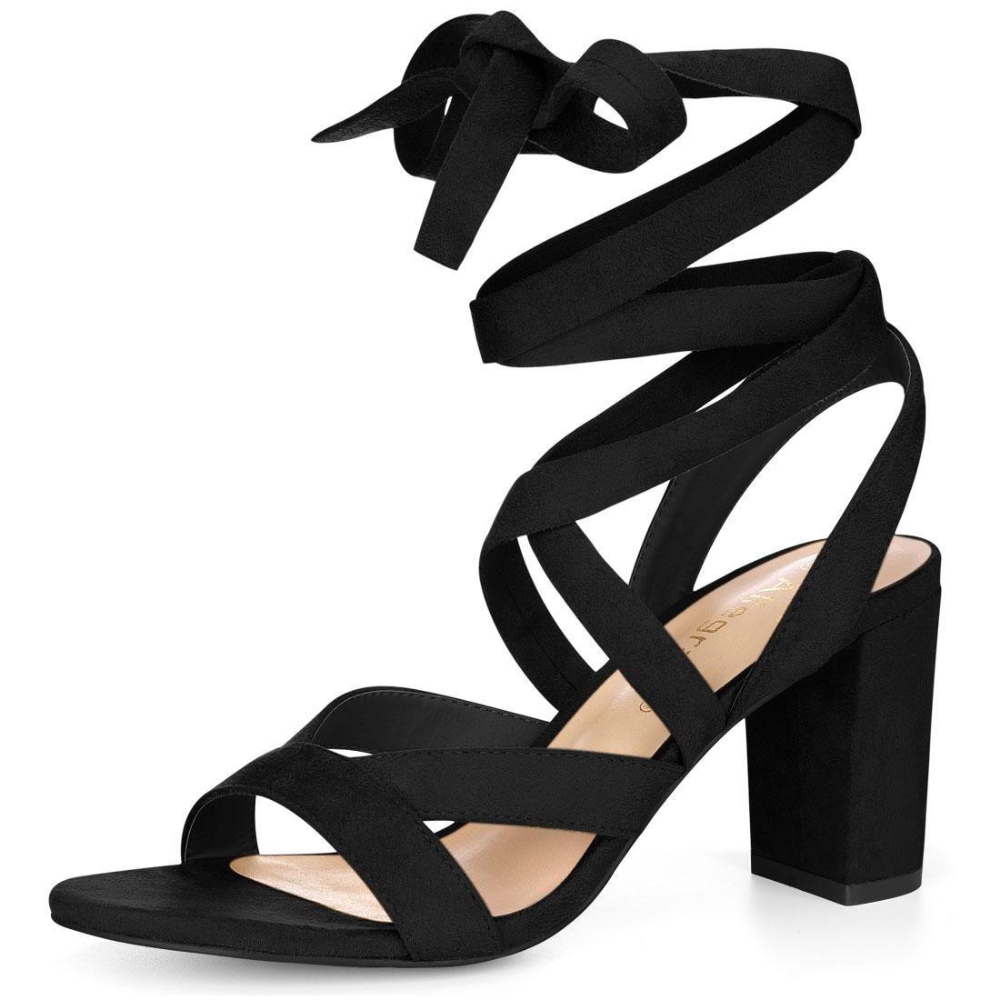 Allegra K Women Crisscross Lace Up Chunky Heel Sandals Black US 9