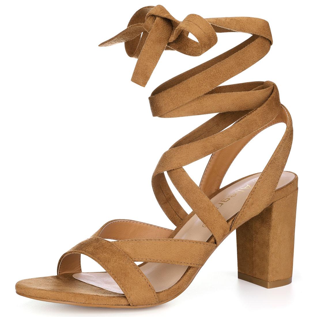Allegra K Women Crisscross Lace Up Chunky Heel Sandals Brown US 6