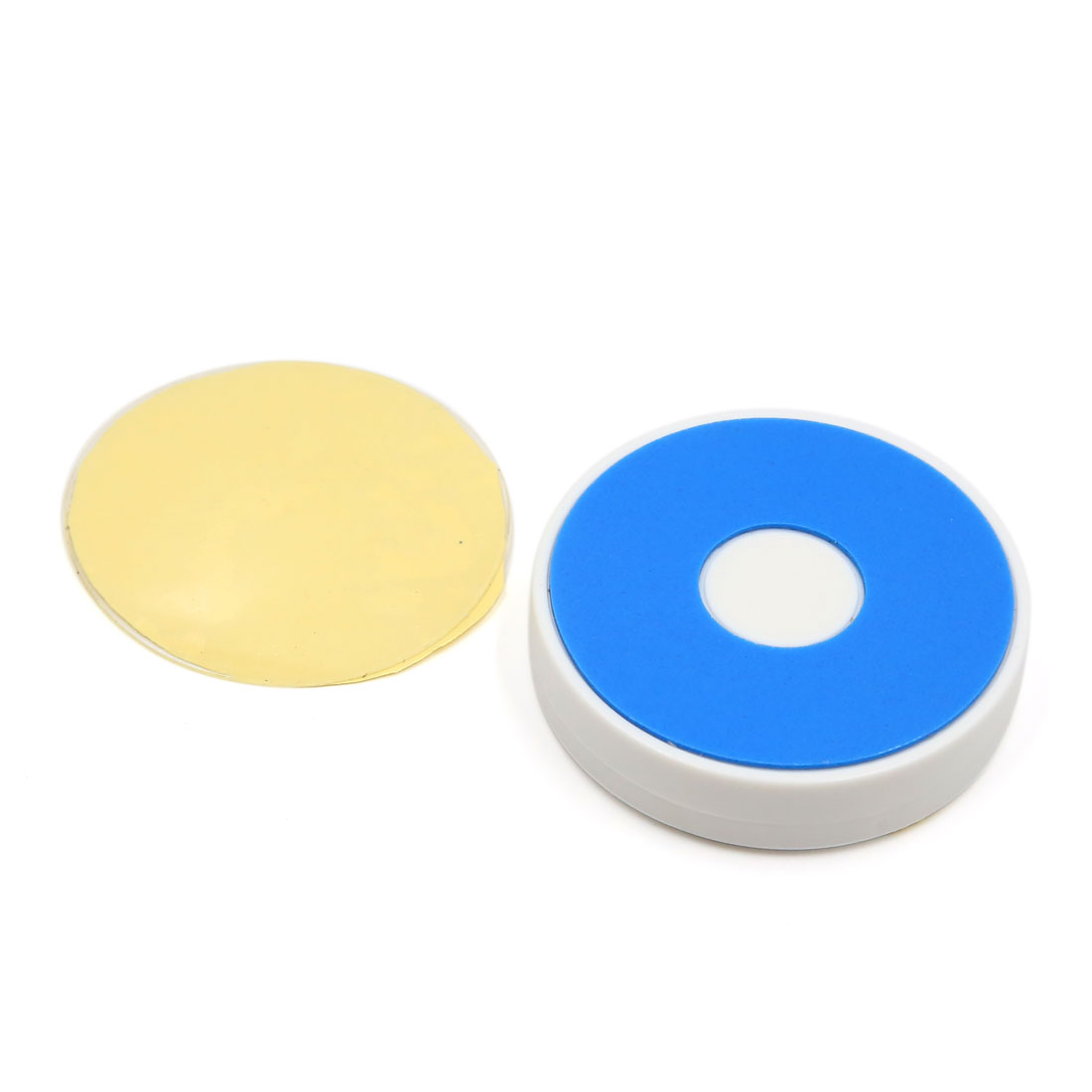 White Round Nano Adhesive Mounting Car Mobile Phone GPS Holder Stand Gold Tone