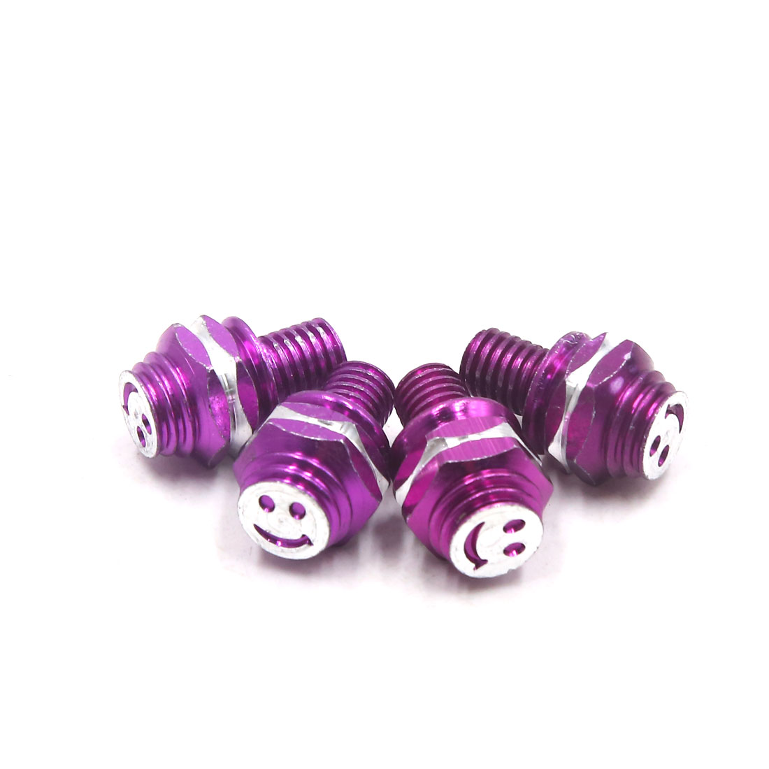 4Pcs M8 x 10mm Smiling Face Pattern Motorcycle Hex Screws Bolts Fasteners Purple