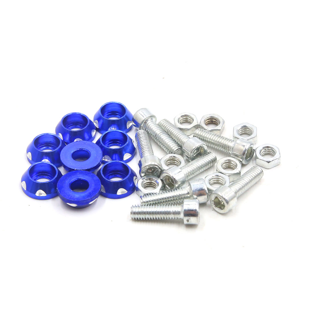 8Pcs M6 x 20mm Carved Style Motorcycle License Plate Bolts Screws Fasteners Blue