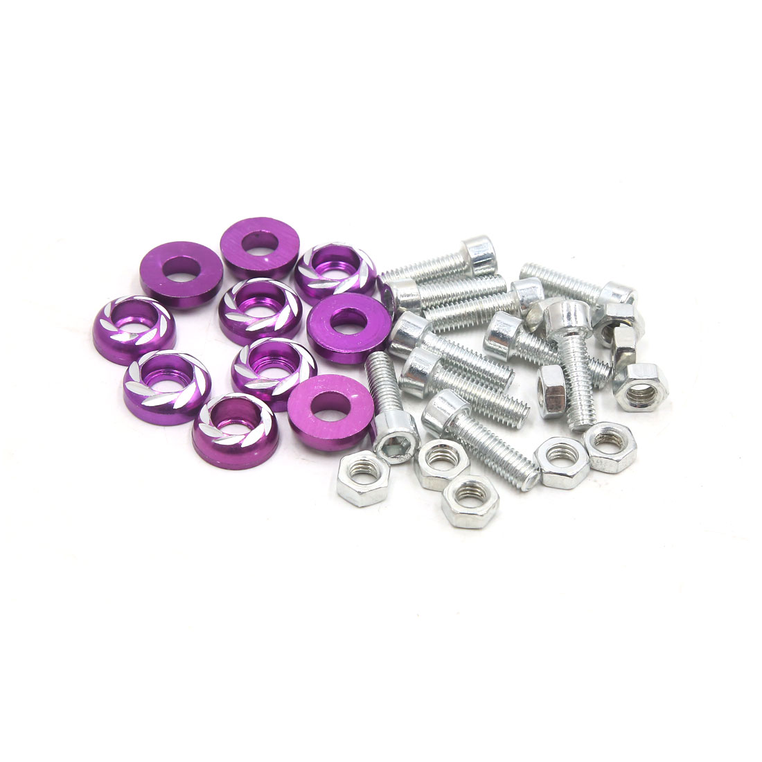 10Pcs M6 x 20mm Carved Style Motorcycle License Plate Frame Bolts Screws Purple