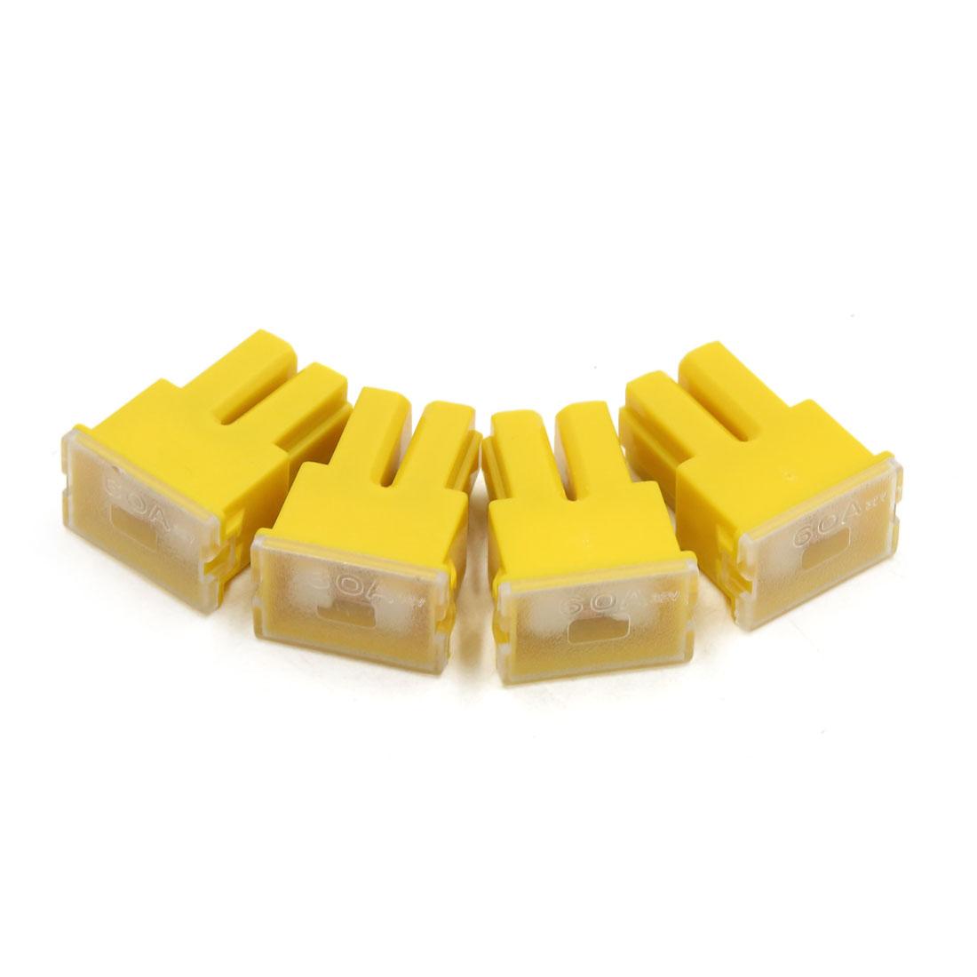 4pcs 32V 60A Yellow Plastic Casing Female PAL Cartridge Fuse for Car Vehicle
