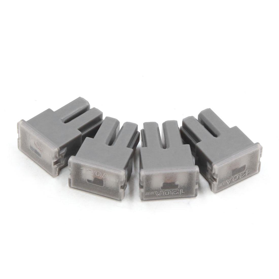 4pcs 32V 120A Gray Plastic Casing Female PAL Cartridge Fuse for Auto Car Vehicle