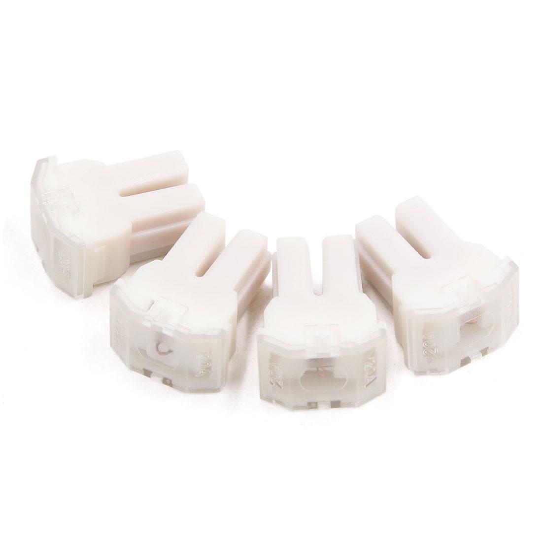 4pcs 20A White Plastic Casing Female PAL Cartridge Fuse for Auto Car Vehicle