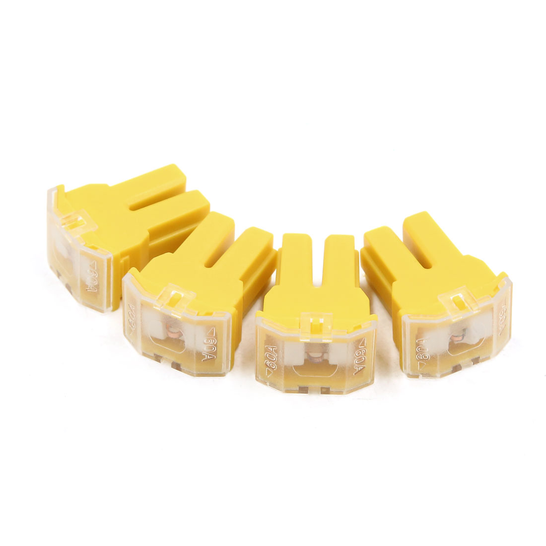 4pcs 60A Yellow Plastic Casing Female PAL Cartridge Fuse for Auto Car Vehicle