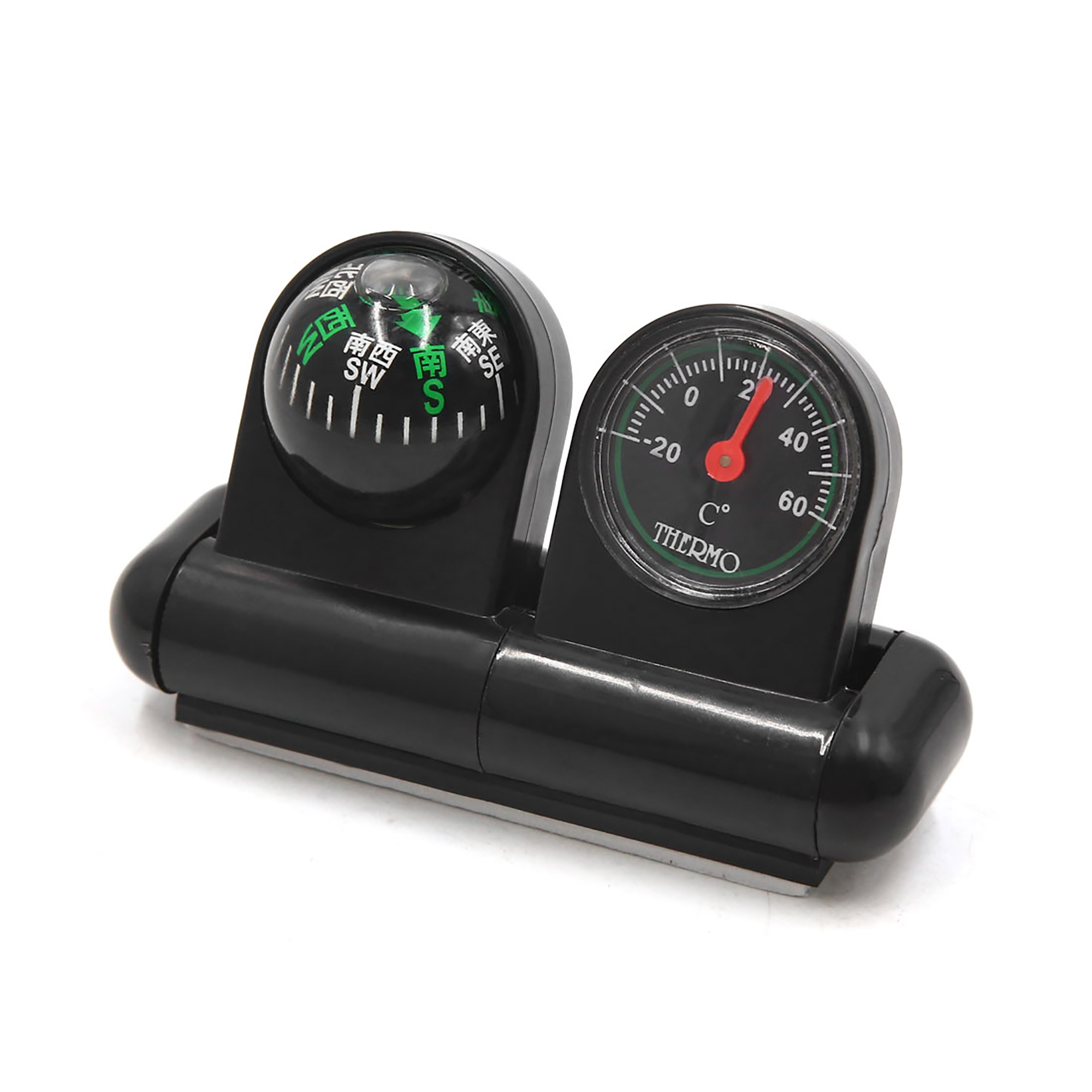 Black Plastic Compass Thermometer Ball Dashboard Navigation for Car Vehicle