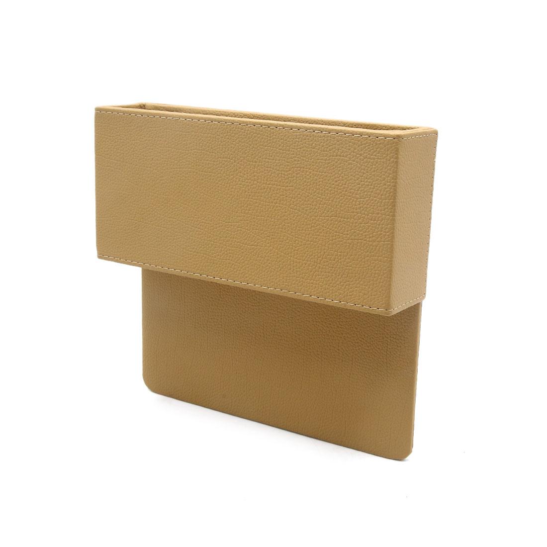 Beige Faux Leather Car Seat Gap Slit Pocket Storage Box Organizer Catcher