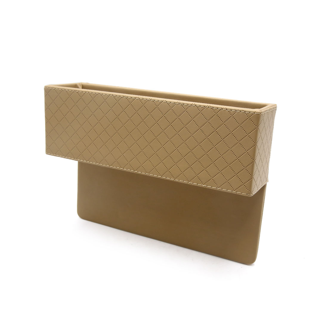 Beige Faux Leather Car Seat Gap Slit Pocket Storage Box Organizer Phone Holder