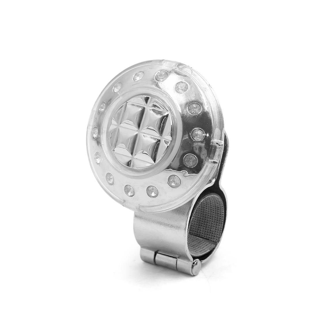 Silver Tone Faux Diamond Car Steering Wheel Spinner Power Handle Knob Booster