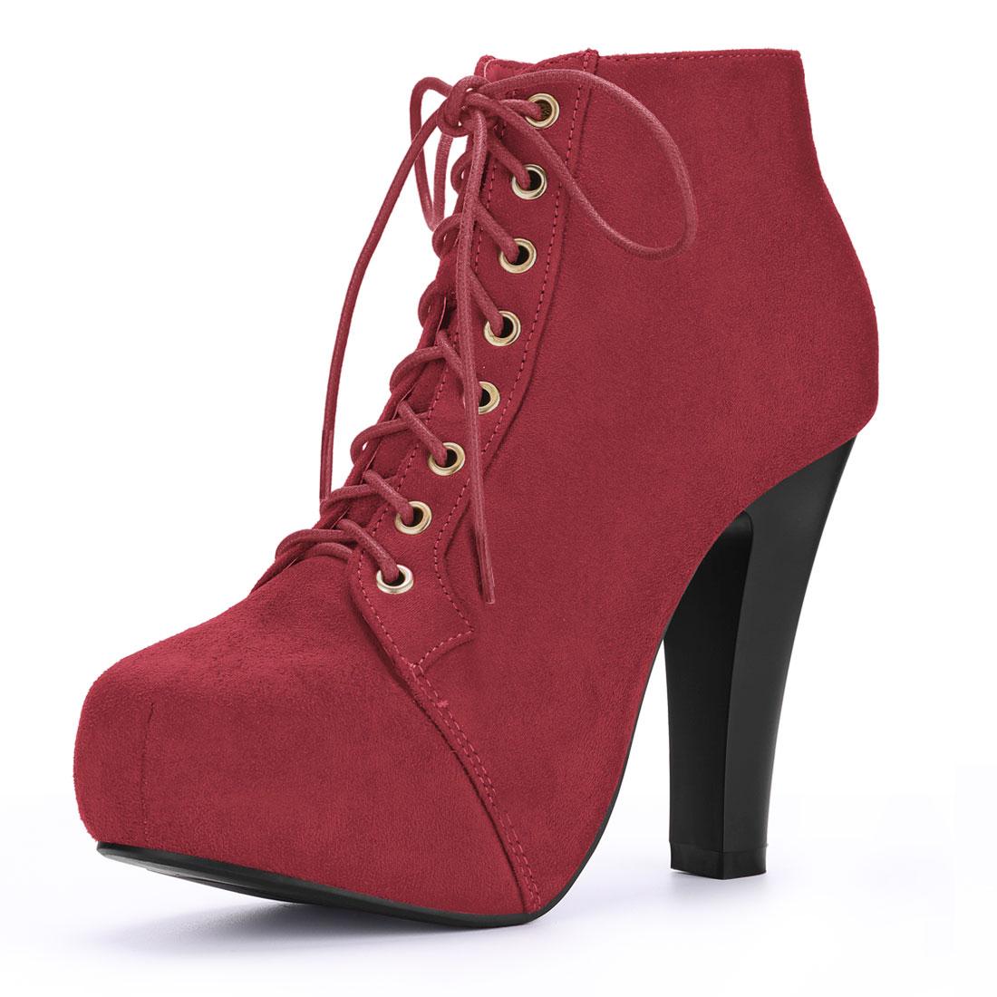 Women Round Toe High Heel Platform Lace Up Booties Red US 8