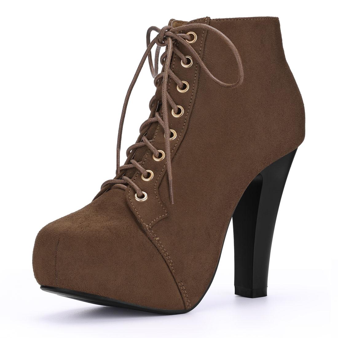 Women Round Toe High Heel Platform Lace Up Booties Coffee US 9
