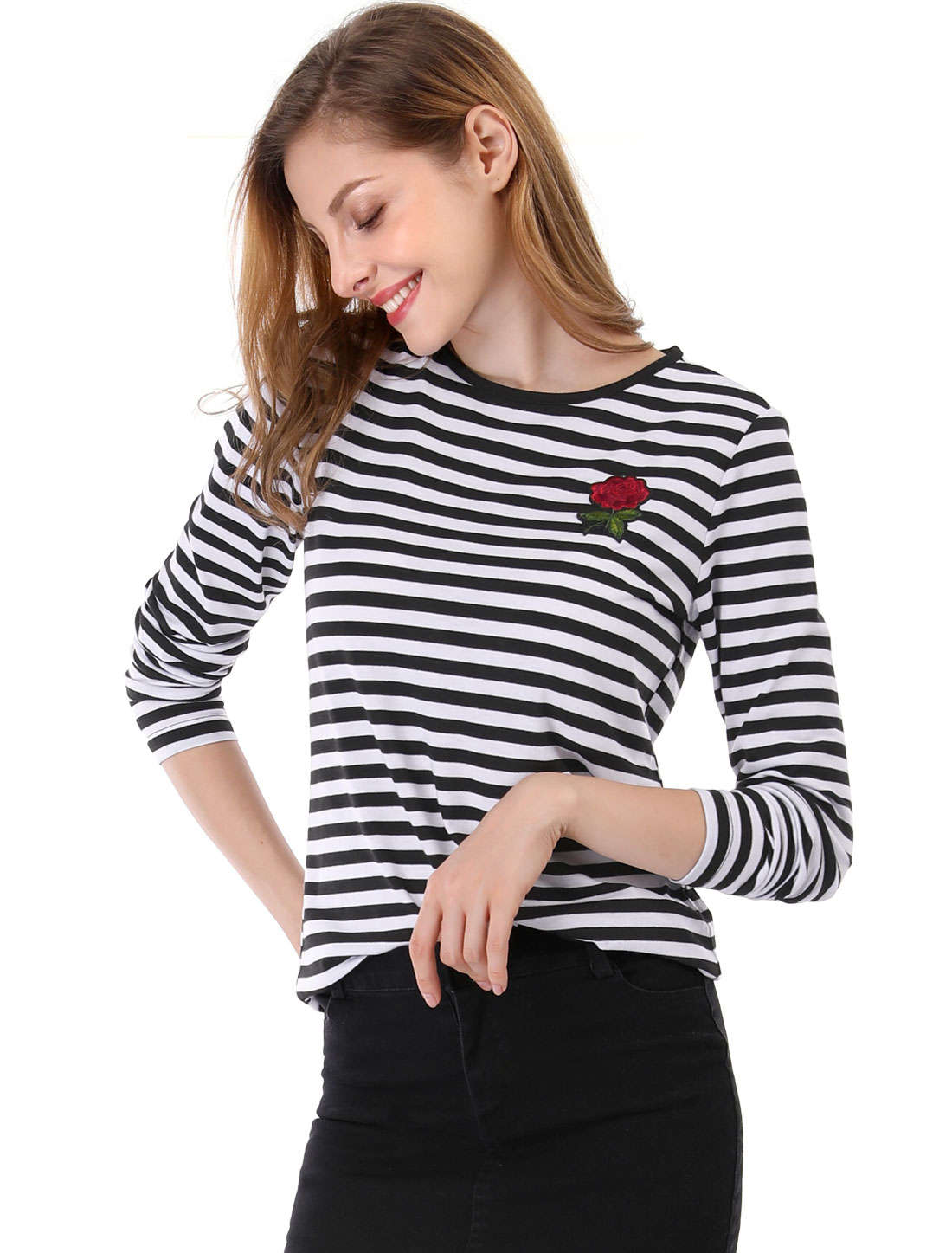 Allegra K Women Rose Patch Piped Crew Neckline Striped Top Black M