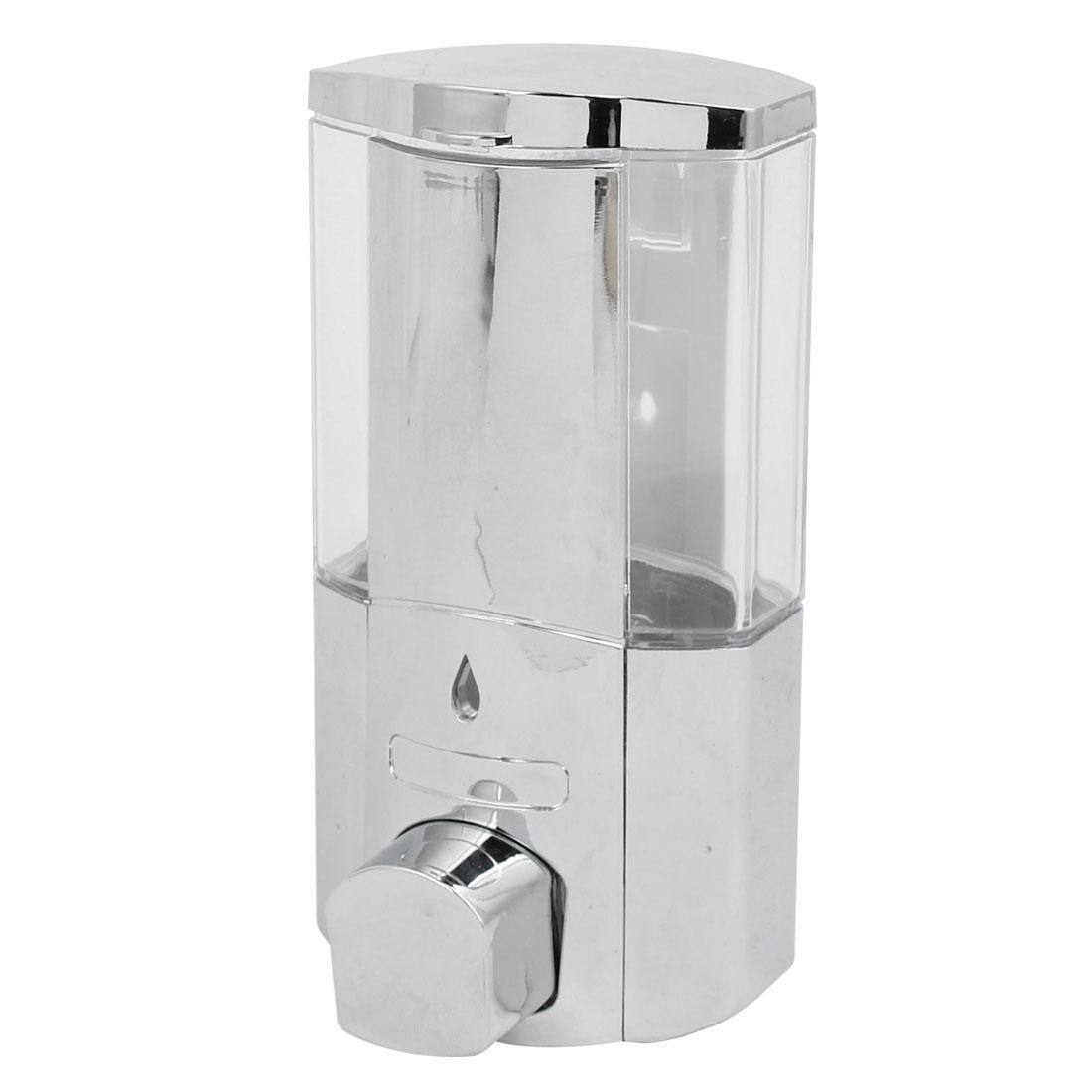 ABS Chrome Plated 300ML Wall-Mount Bathroom Liquid Soap Dispenser Silver Tone