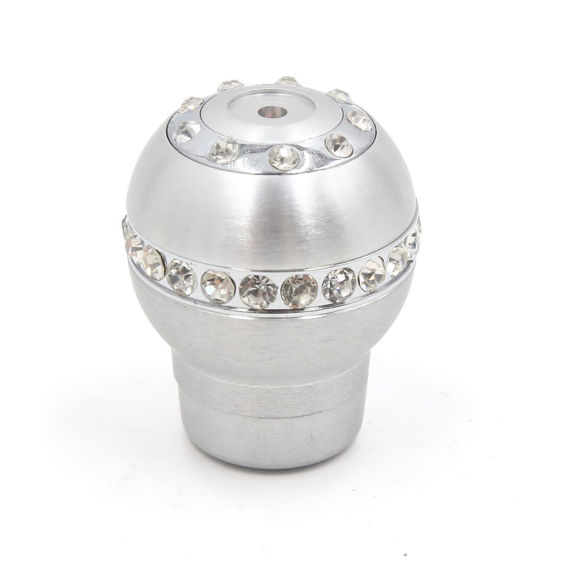 Silver Tone Faux Diamond Head Car Manual Gear Shift Lever Knob w 3 Adapter