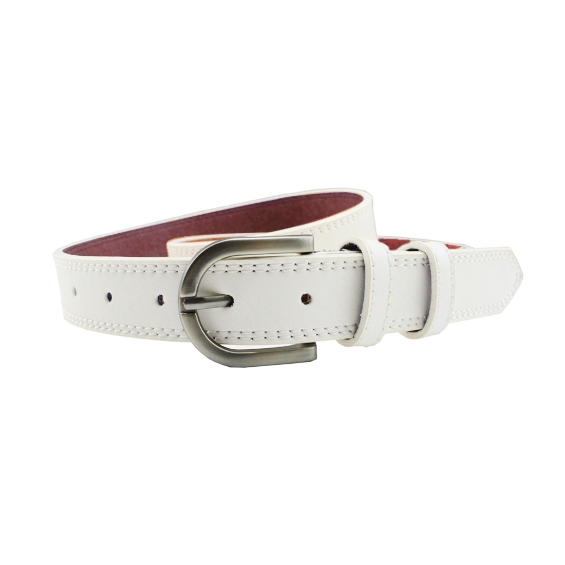 """Unisex Double Stitched Imitation Leather Single Pin Buckle Belt 1 1/8"""" White"""
