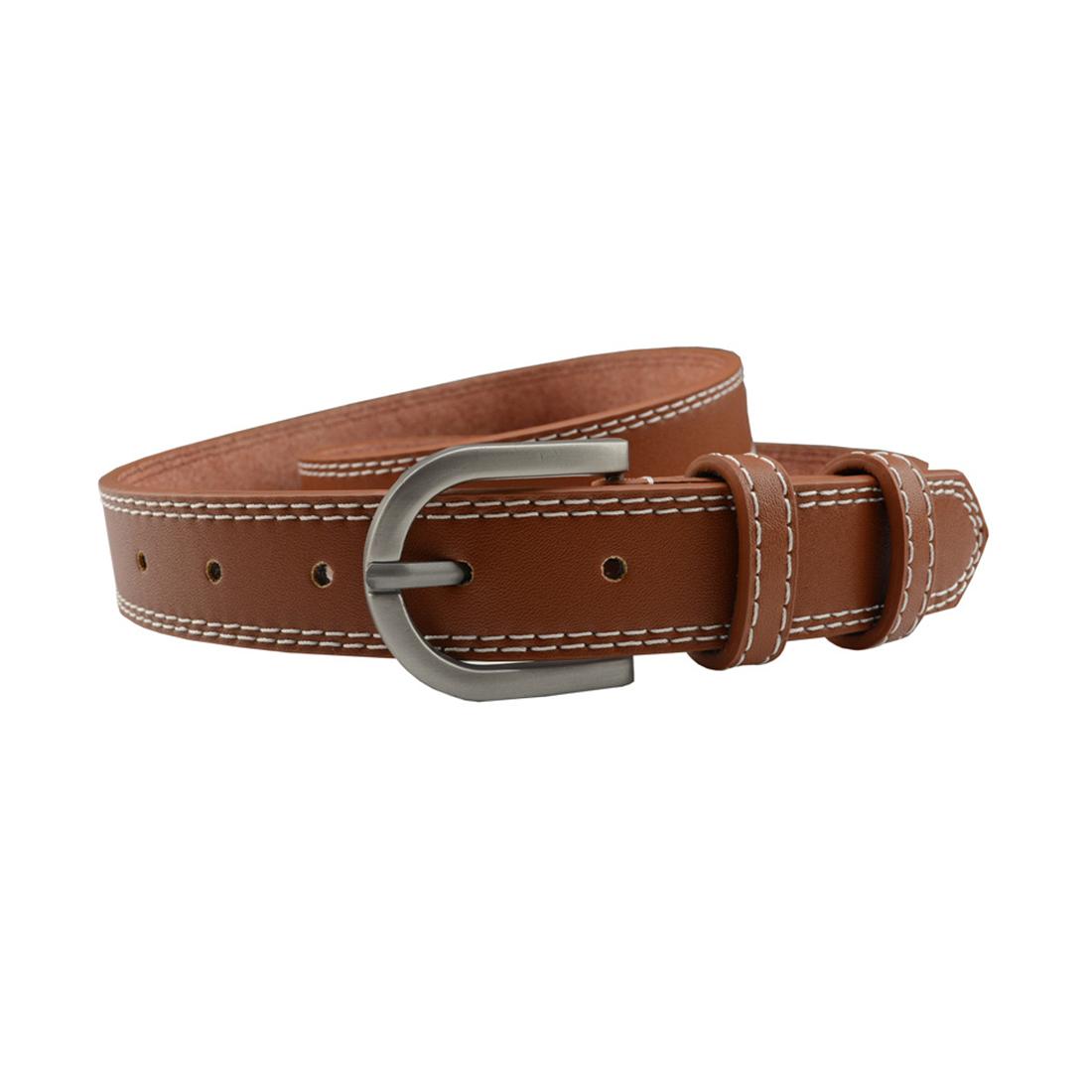 """Unisex Double Stitched Imitation Leather Single Pin Buckle Belt 1 1/8"""" Camel"""