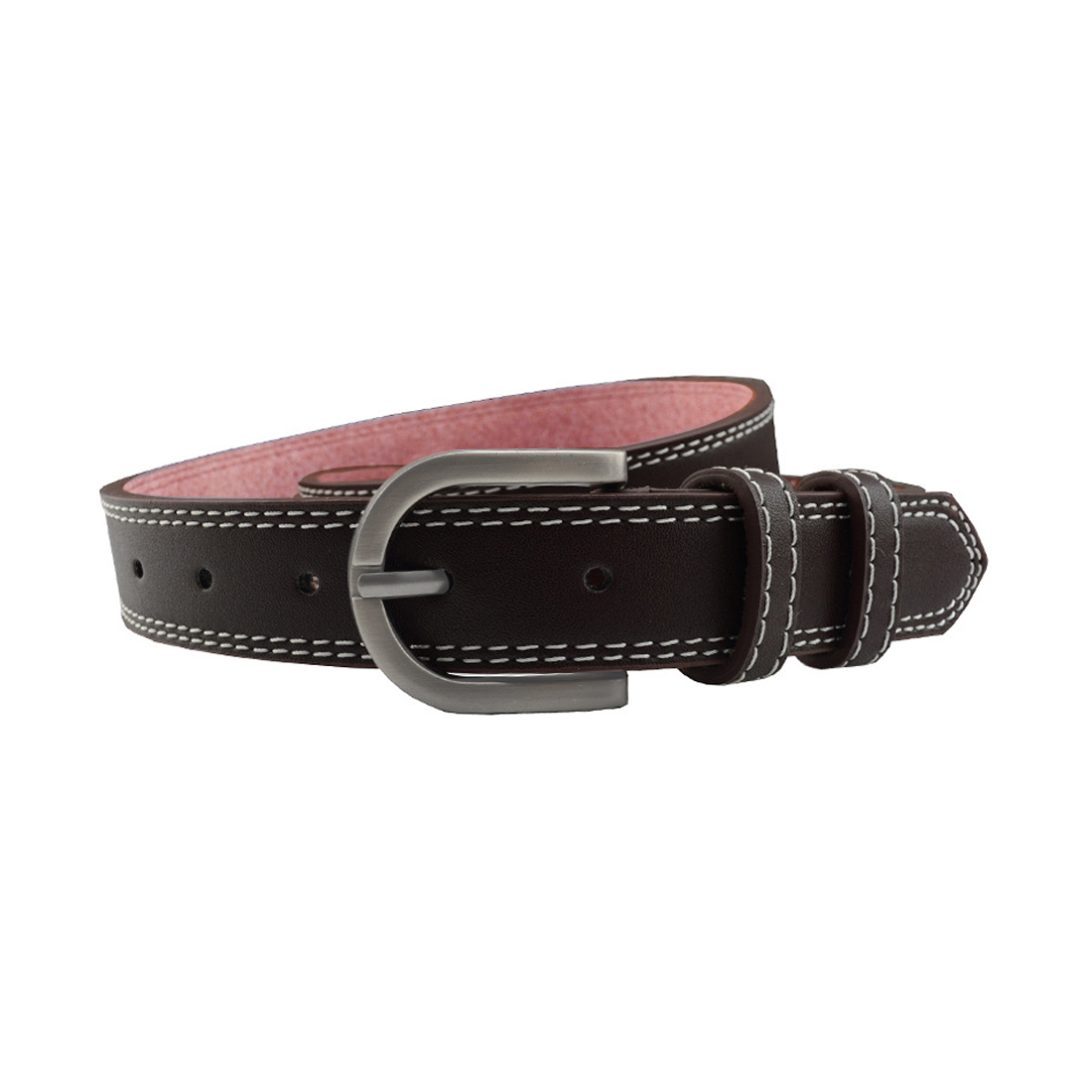 """Unisex Double Stitched Imitation Leather Single Pin Buckle Belt 1 1/8"""" Brown"""