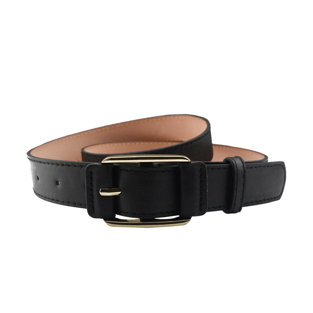 "Women Double Stitched Imitation Leather Pin Buckle Adjustable Belt 1 1/8"" Black"