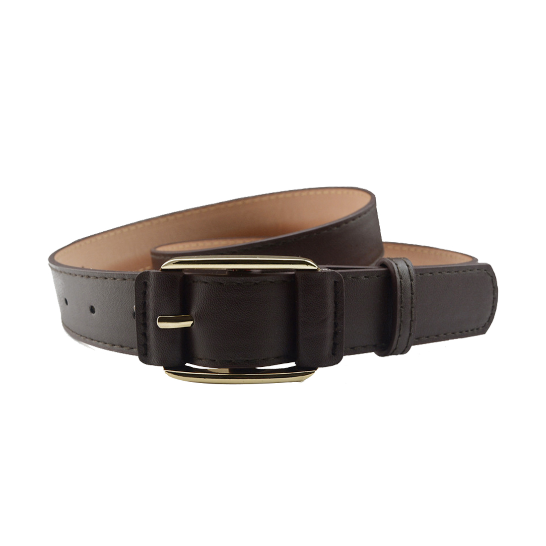 """Women Double Stitched Imitation Leather Pin Buckle Adjustable Belt 1 1/8"""" Brown"""