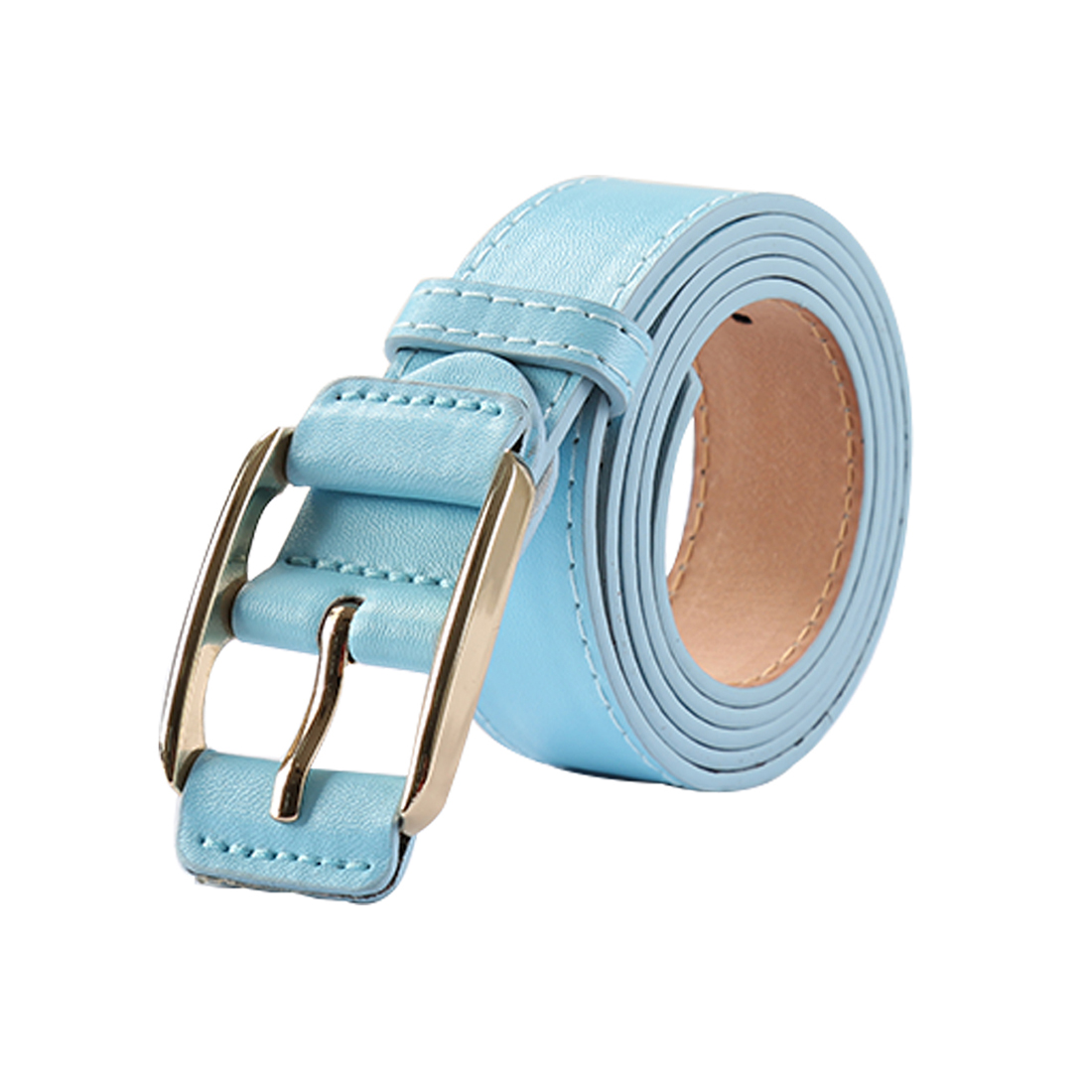 """Women Double Stitched Imitation Leather Pin Buckle Belt 1 1/8"""" Blue"""