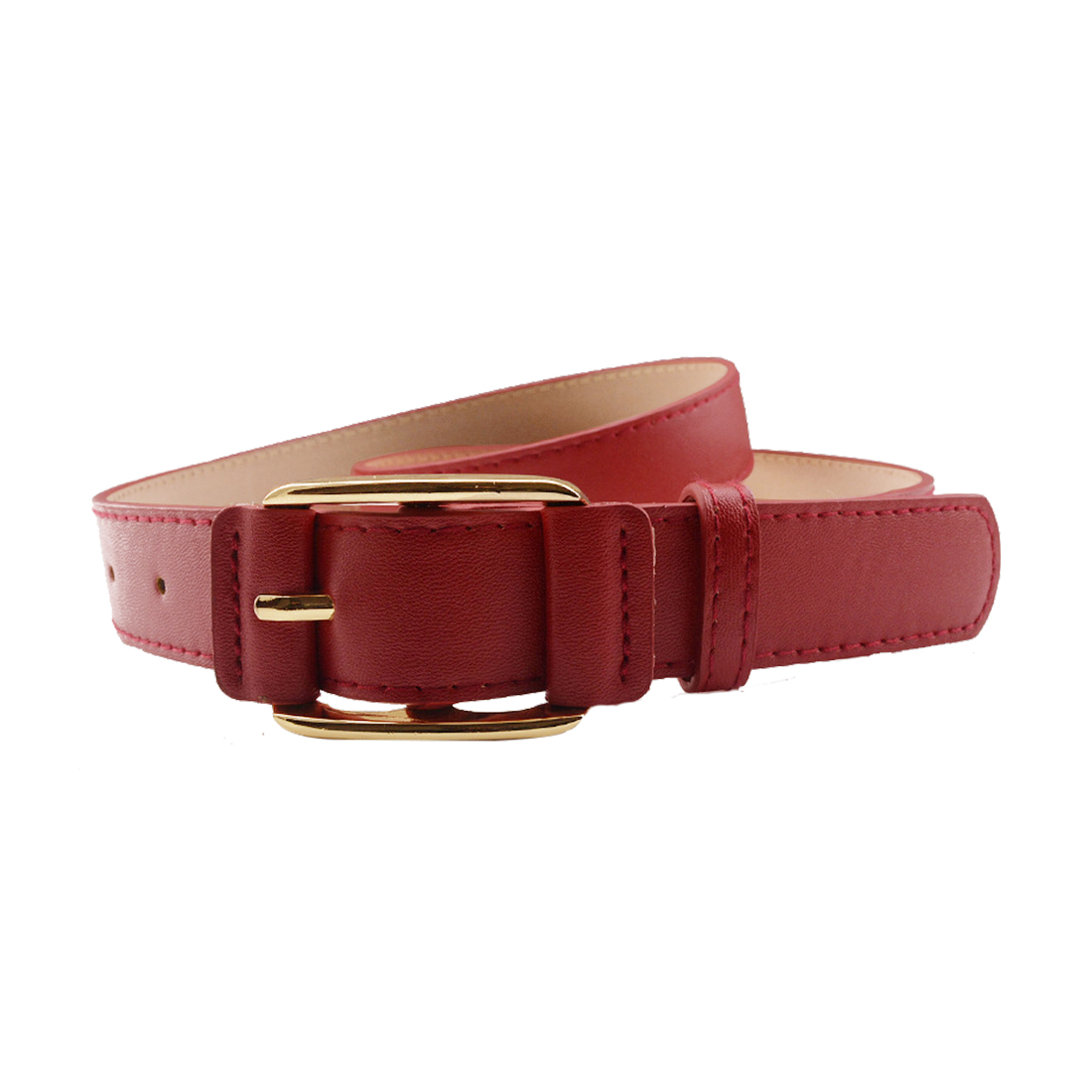 """Women Double Stitched Imitation Leather Pin Buckle Adjustable Belt 1 1/8"""" Red"""