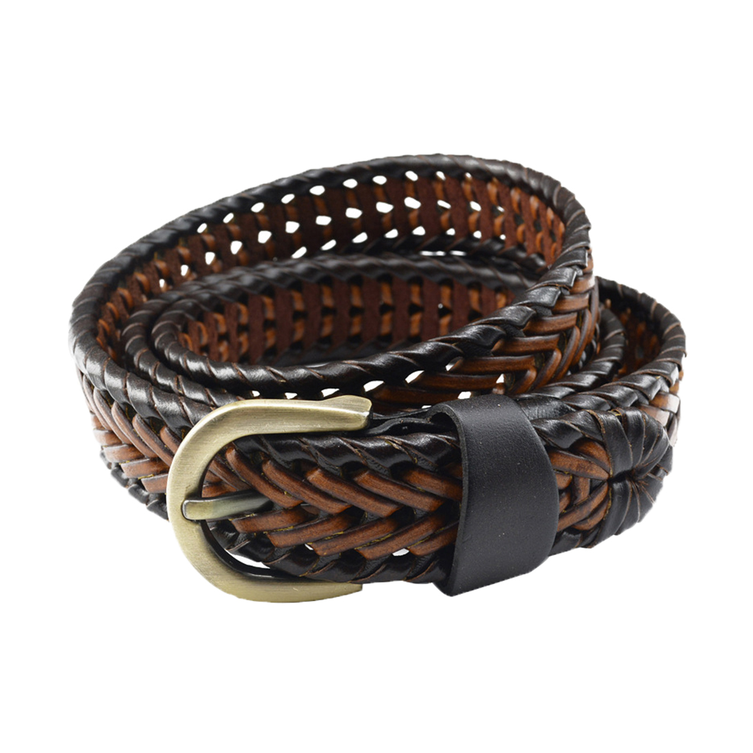Unisex Braided Alloy Single Pin Buckle Imitation Leather Belt Brown