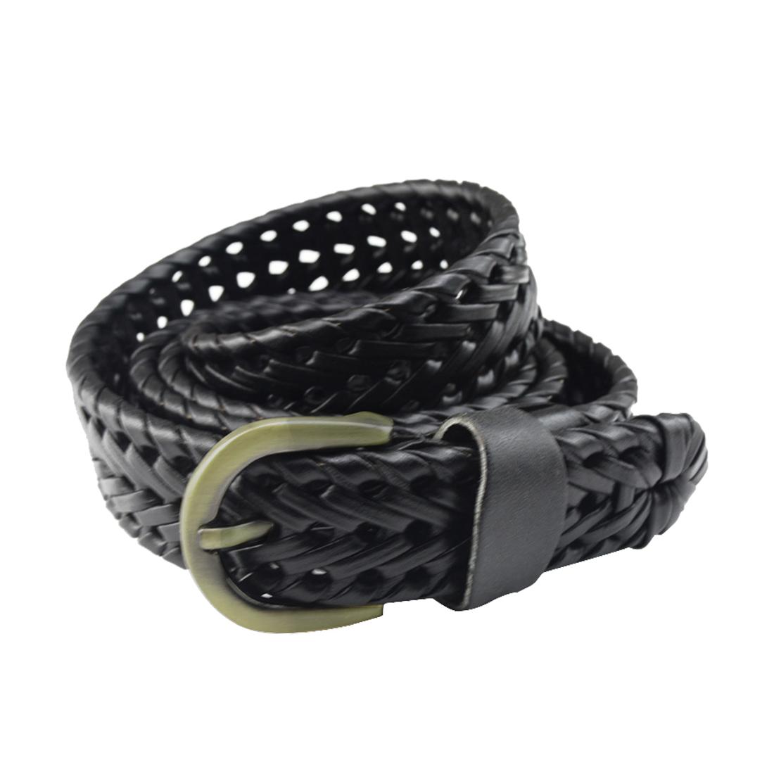 Unisex Braided Alloy Single Pin Buckle Imitation Leather Belt Black