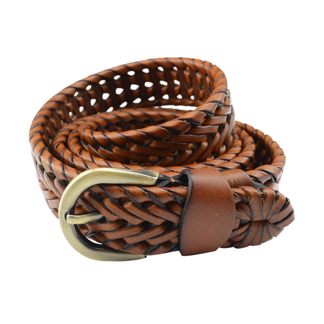 Unisex Braided Alloy Single Pin Buckle Imitation Leather Belt Camel
