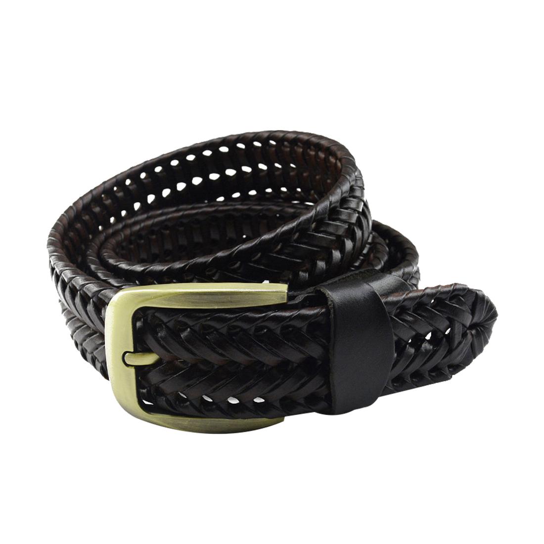 Unisex Hand Made Braided Alloy Pin Buckle Imitation Leather Belt Dark Brown