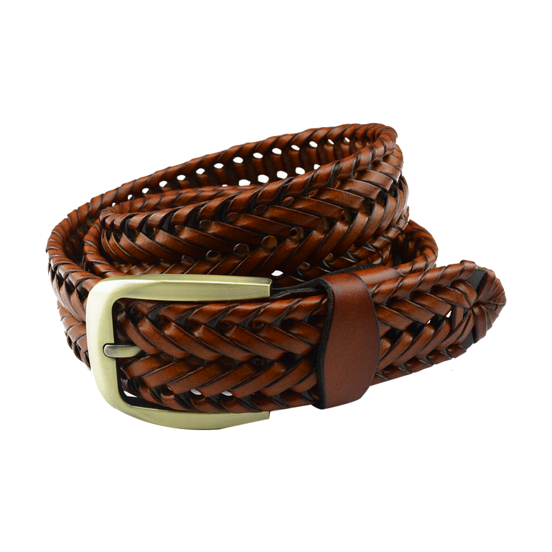 Unisex Hand Made Braided Alloy Pin Buckle Imitation Leather Belt Camel