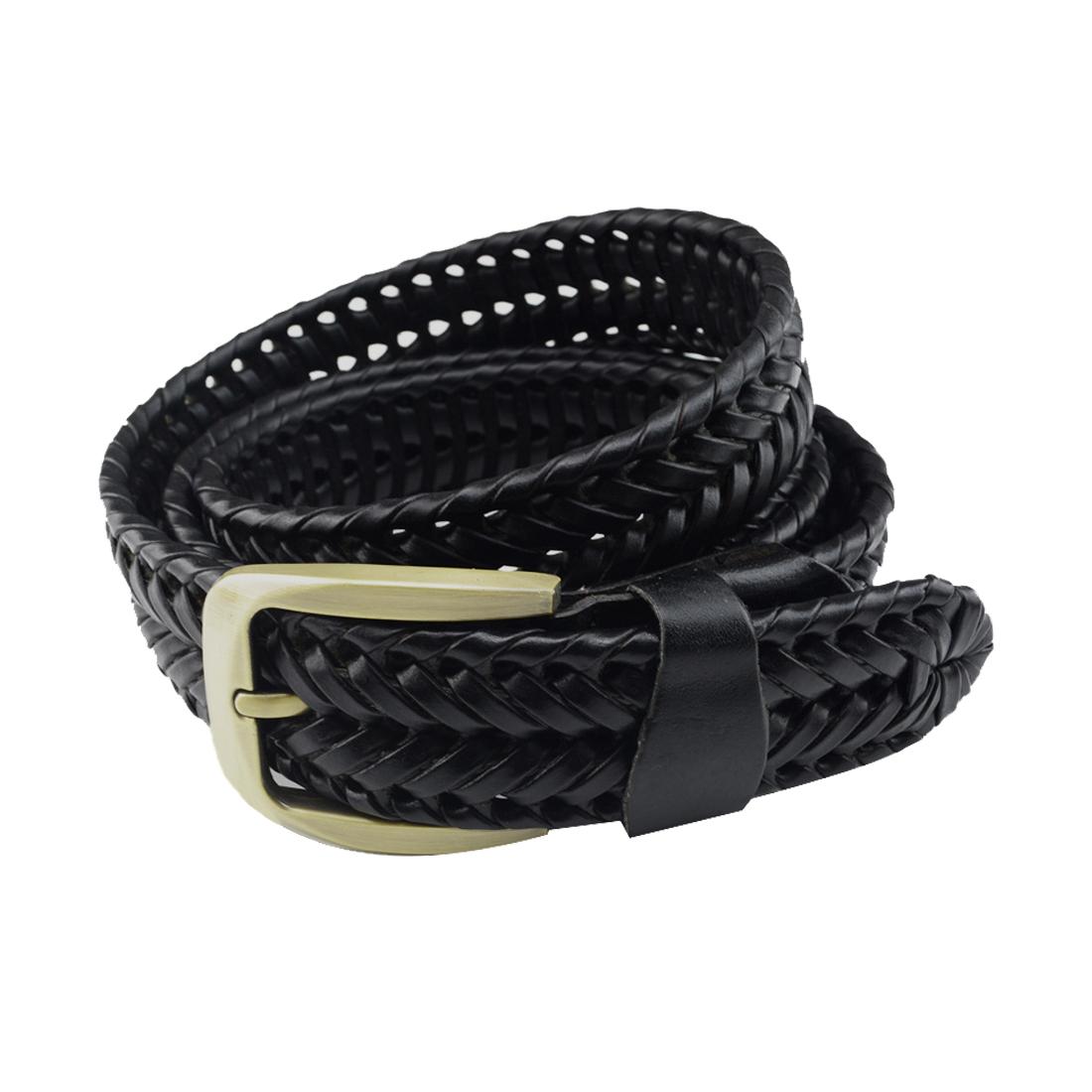 Unisex Hand Made Braided Alloy Pin Buckle Imitation Leather Belt Black