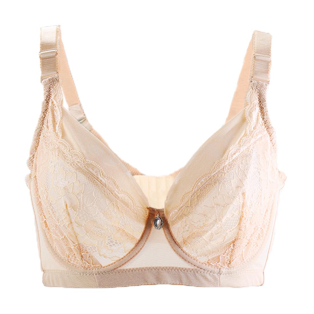 Women Semitransparent Push Up Lace Deco Thin Cup Underwire Bra Beige 38/85