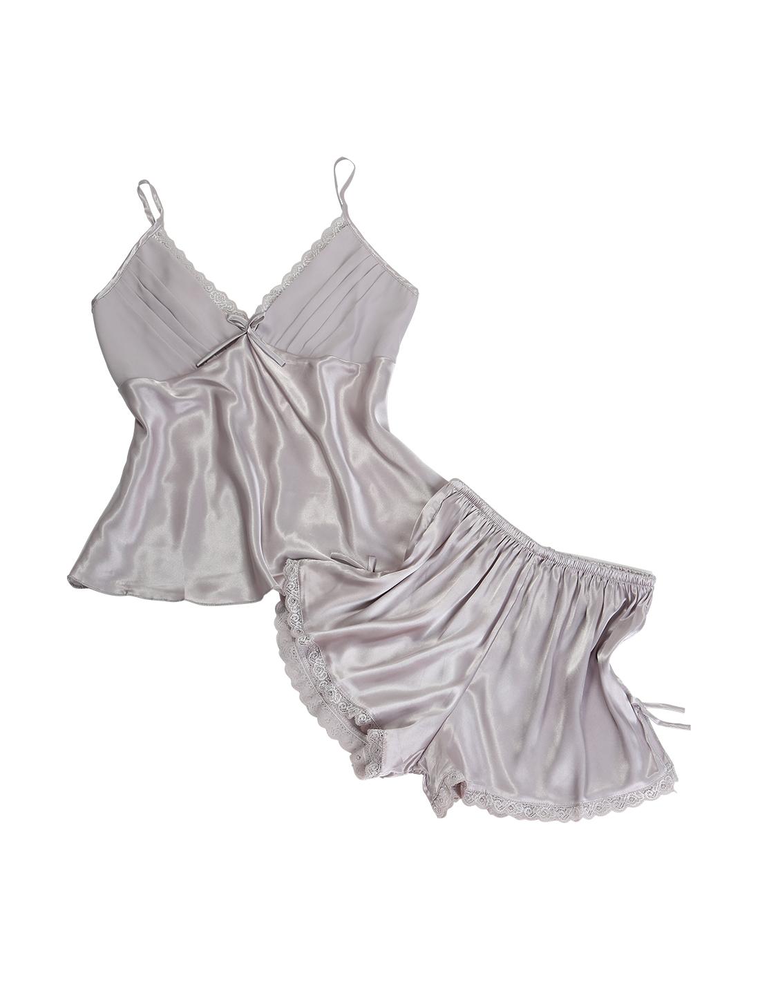Women Sexy Lace Silk Satin Camisole Shorts Sleepwear Pajama Sets Silver Gray XXL