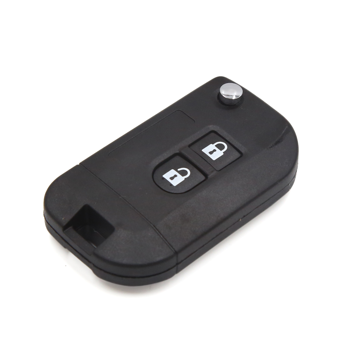 Black 2 Buttons Filp Folding Uncut Key Fob Remote Control Case Shell for Nissan