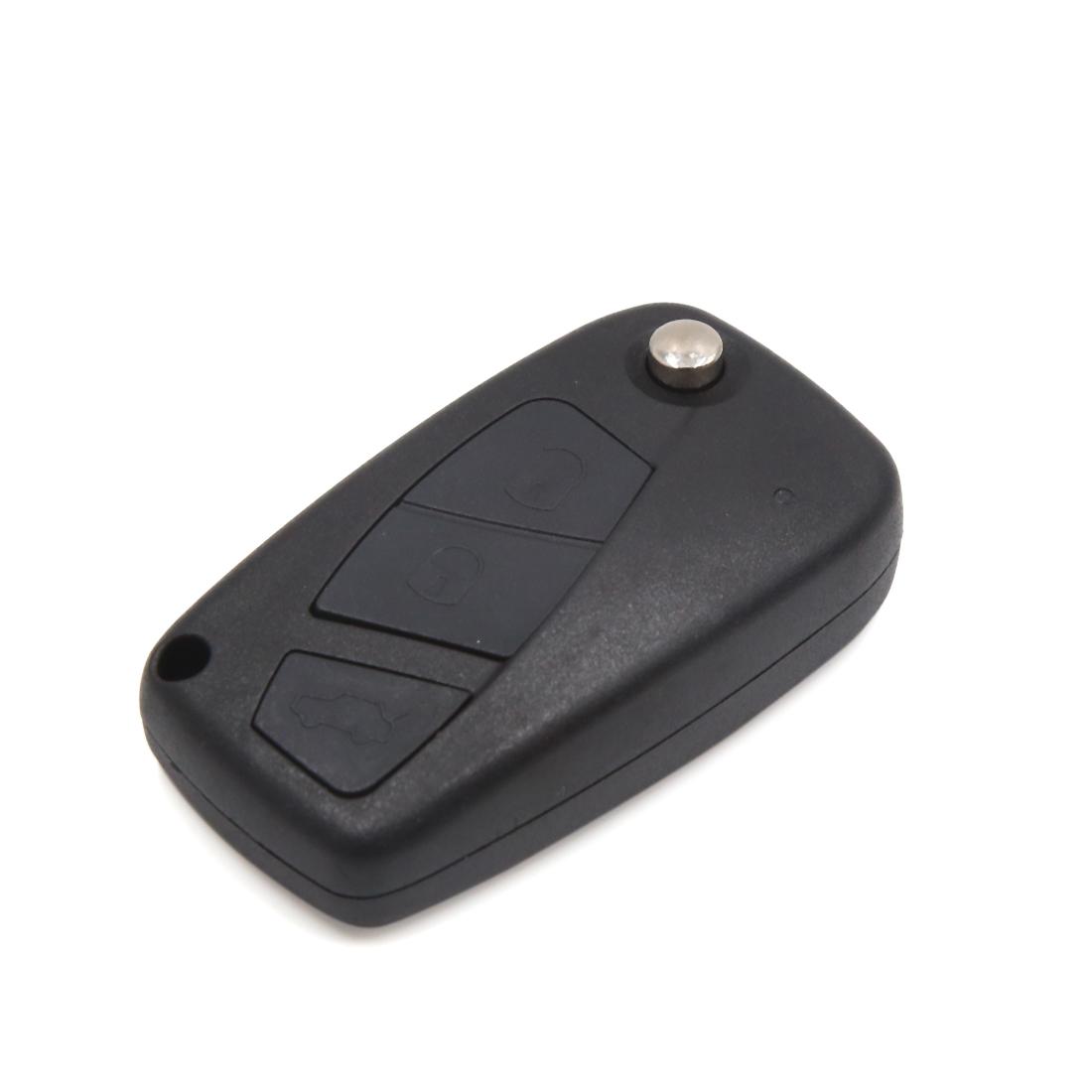 Black 3 Buttons Flip Folding Uncut Key Remote Fob Clicker Case Shell for FIAT