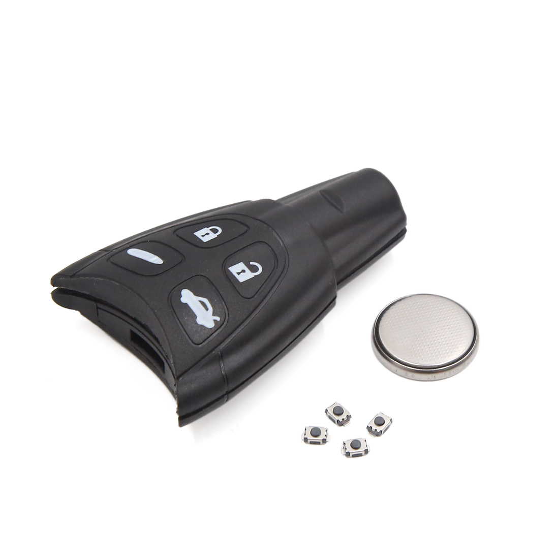 Black Plastic 4 Buttons Keyless Remote Clicker Case Shell Replacement for SAAB