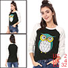 Women Owl Pattern Contrast Color Raglan Sleeves Top Black XS