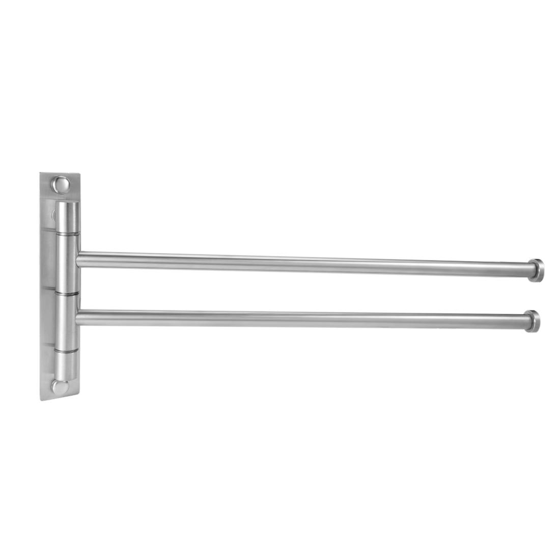 304 Stainless Steel 2 Bar Folding Arm Swivel Hanger Towel Rail Brushed Finish