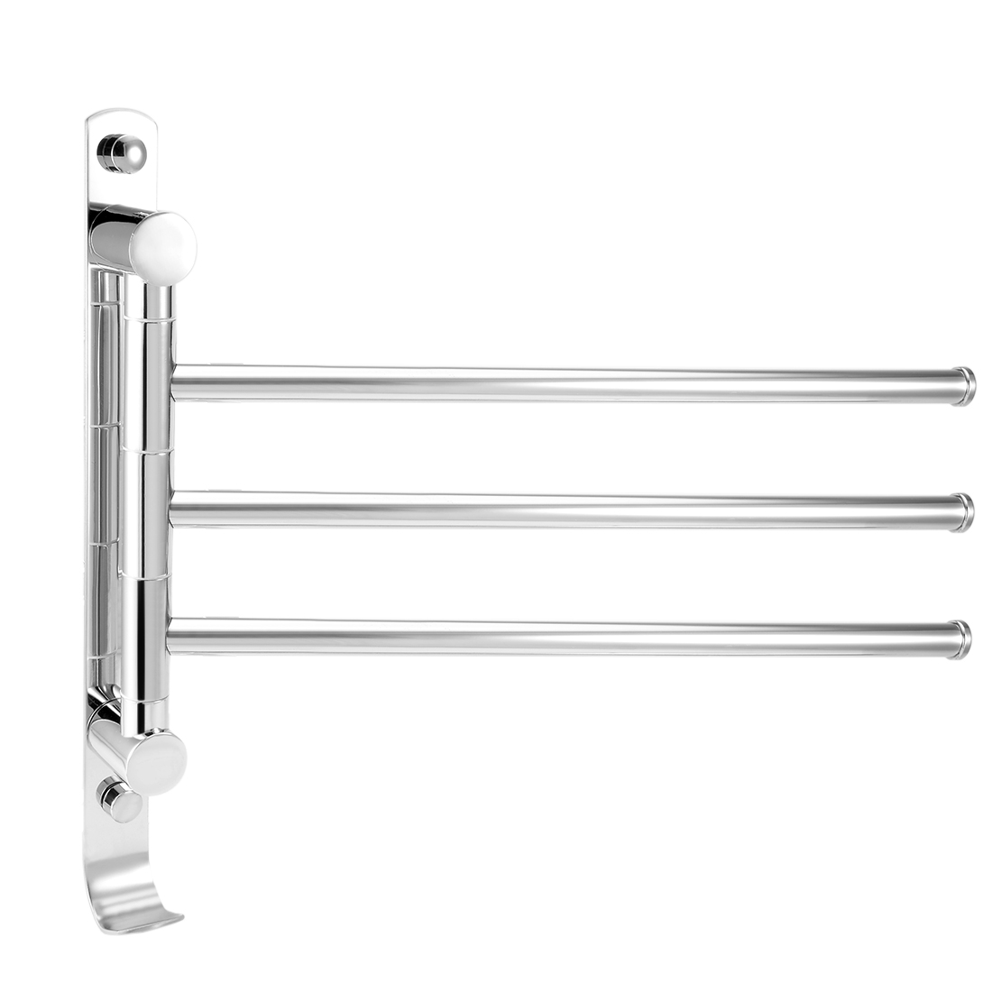 201 Stainless Steel 3 Bar Folding Arm Swivel Hanger Towel Rail Polished w Hook