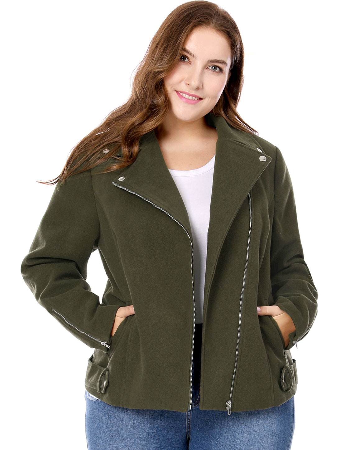 Women Plus Size Inclined Zip Closure Worsted Moto Jacket Green 3X