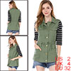 Women Functional Pockets Drawstring Waist Cargo Vest Green XS