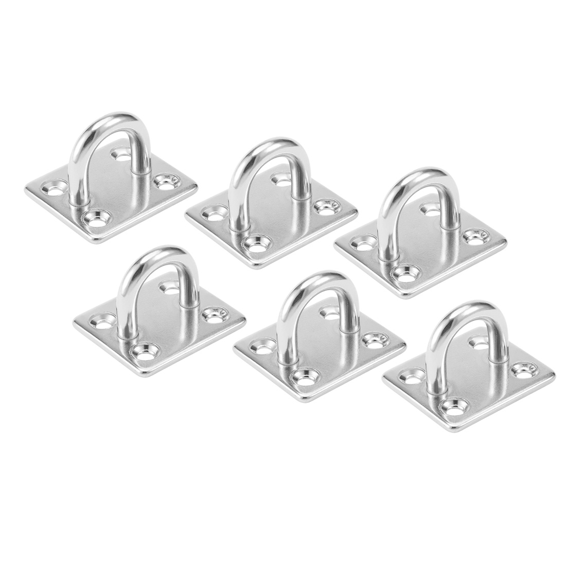 304 Stainless Steel 6mm Thick Ring Square Sail Shade Pad Eye Plate 6pcs