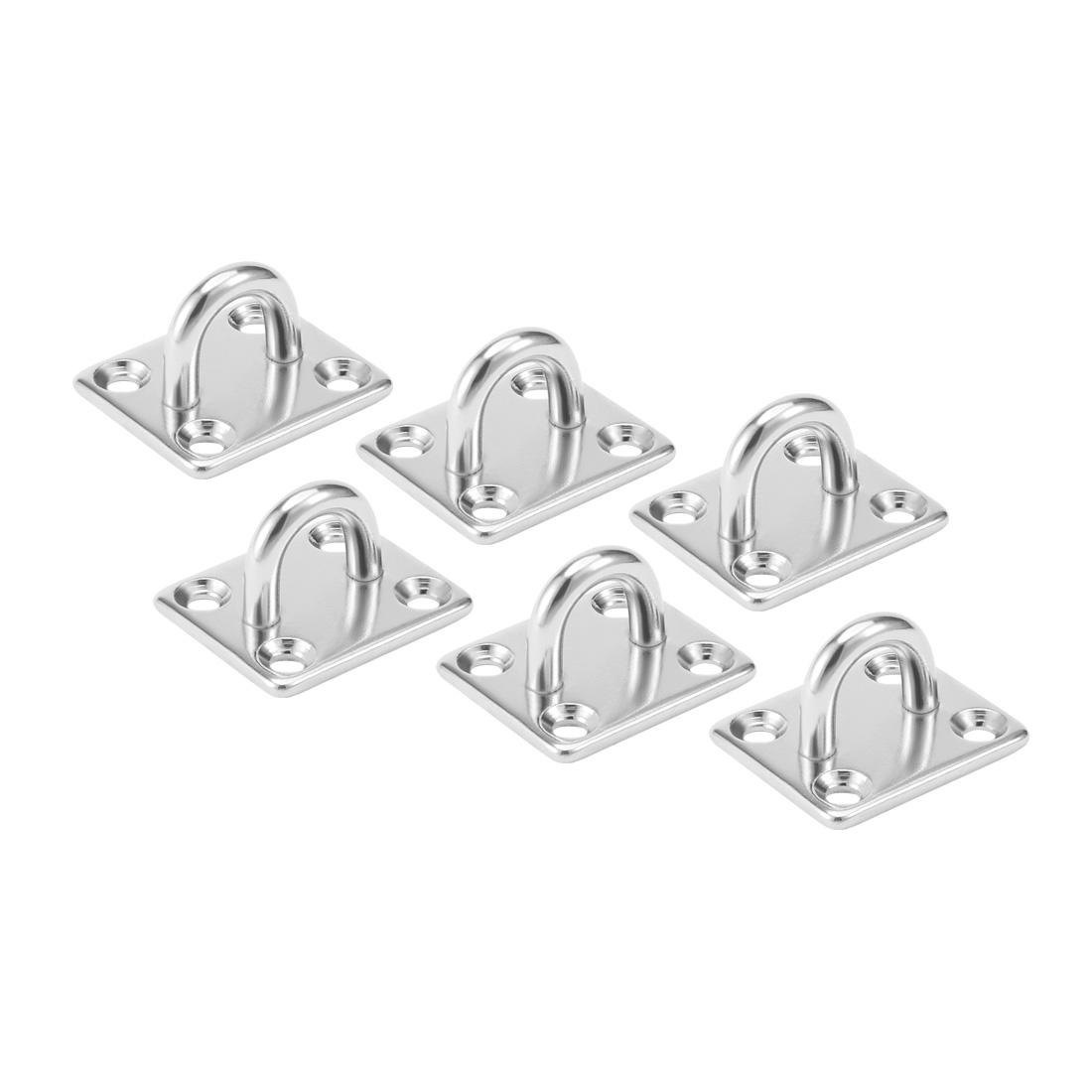 316 Stainless Steel 5mm Thick Ring Square Sail Shade Pad Eye Plate 6pcs