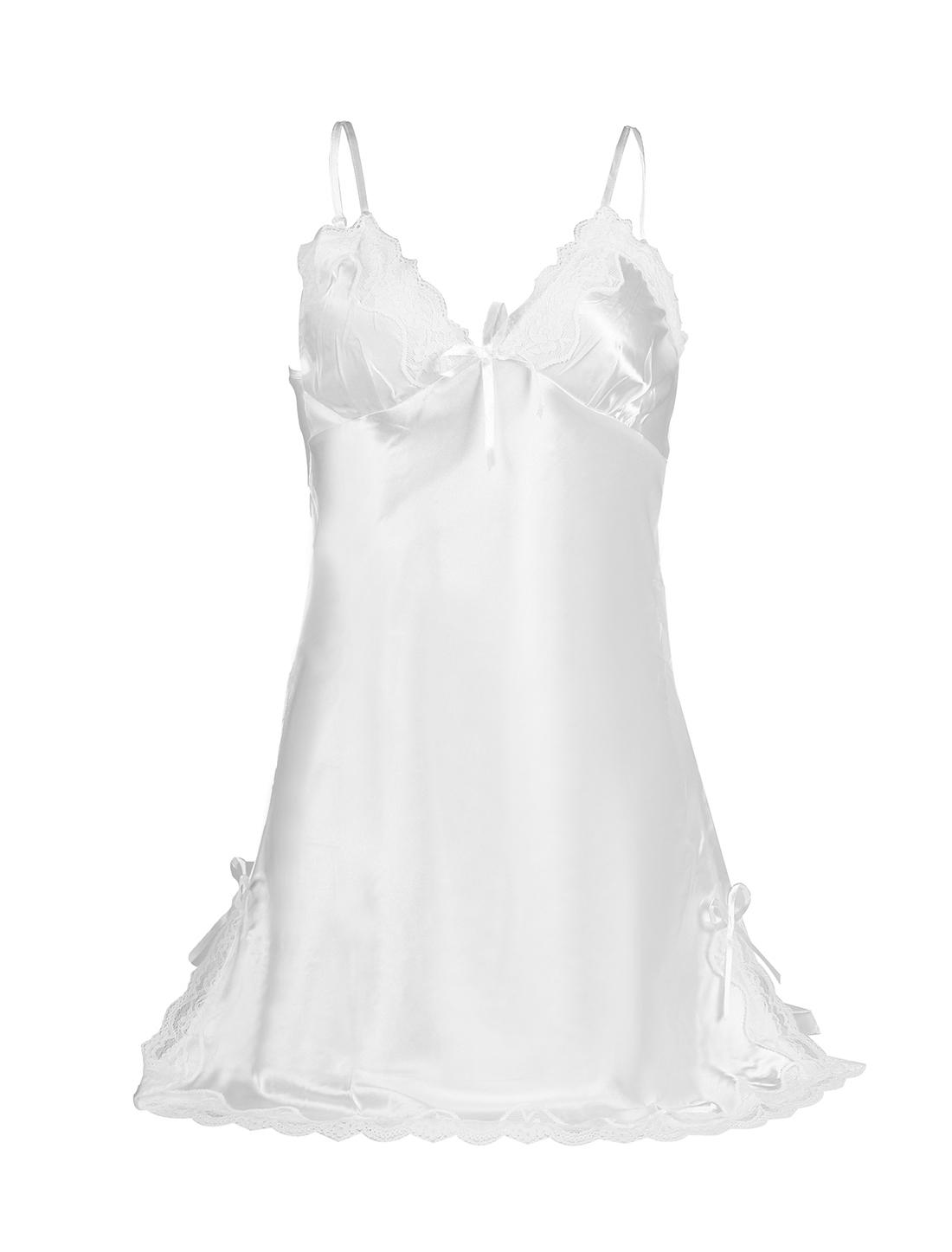 Women Sexy Satin Lace Trim Sleepwear Nightgown Pajama Slip Dress White-Lace M
