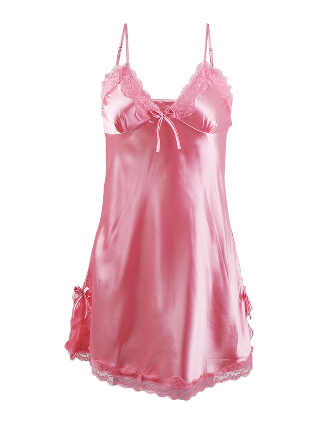 Women Sexy Satin Lace Trim Sleepwear Nightgown Pajama Slip Dress Pink-Lace M