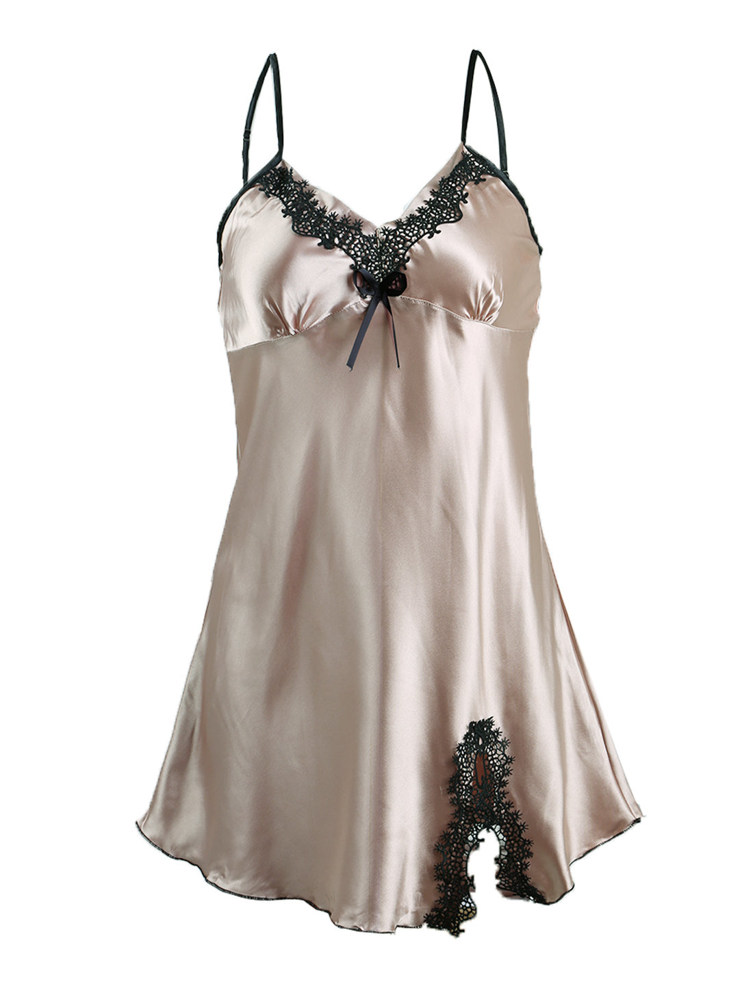 Women Satin Lace Trim Sleepwear Nightgown Pajama Slip Dress Champagne-Floral XL