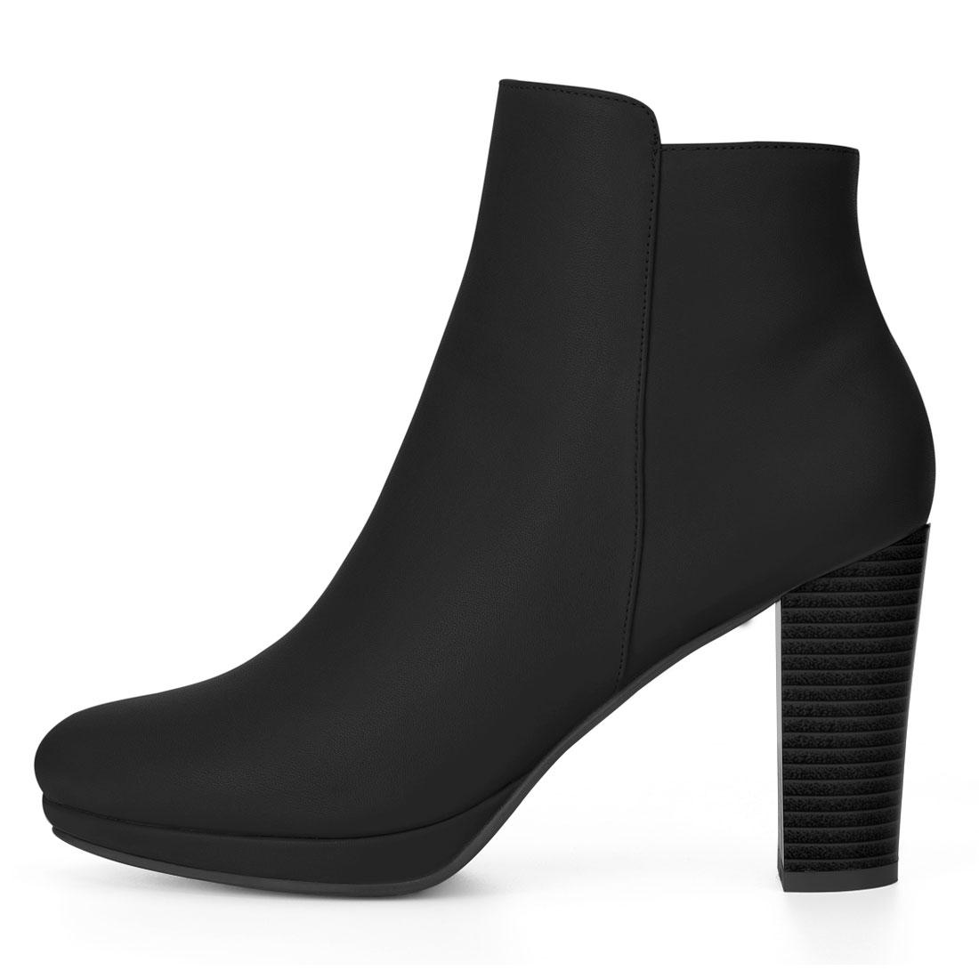 Allegra K Women Round Toe Chunky Heel Platform Ankle Boots Black US 9