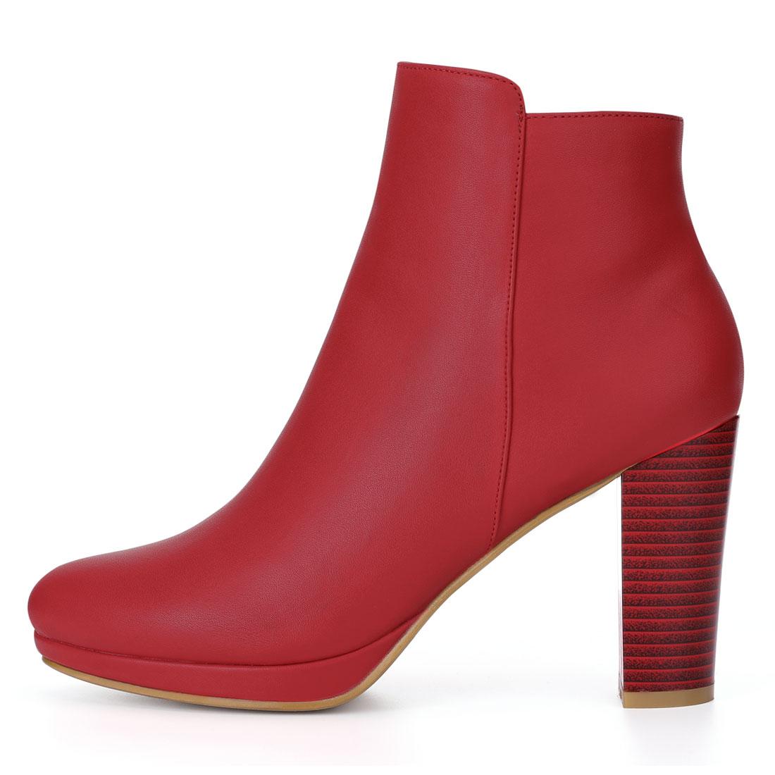 Allegra K Women Round Toe Chunky Heel Platform Ankle Boots Red US 9